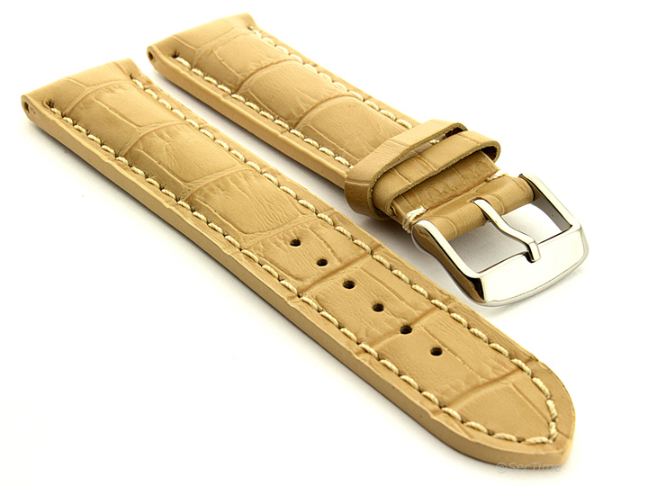 Leather Watch Strap VIP Alligator Grain Dark Cream 01