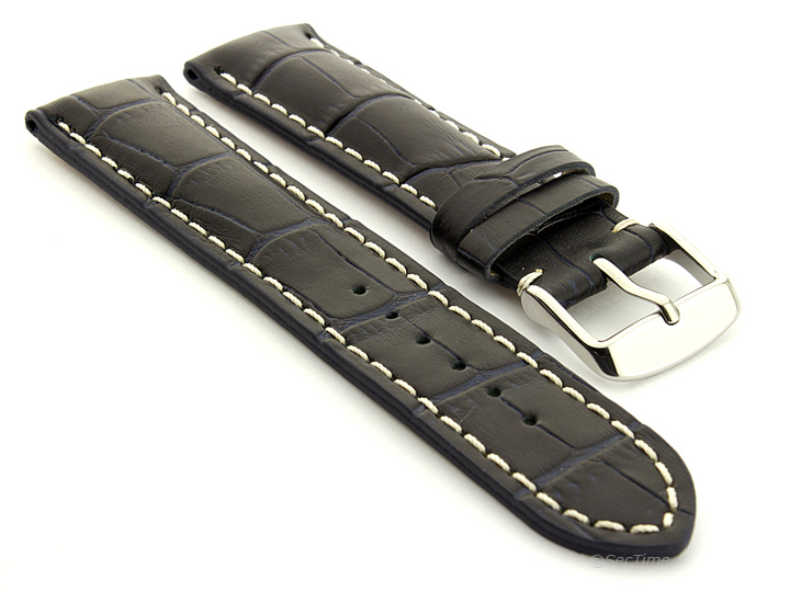 Leather Watch Strap VIP Alligator Grain Night Blue 01
