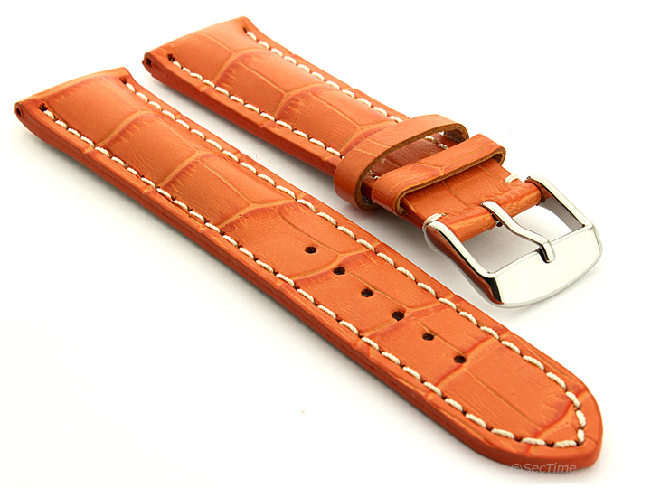 Leather Watch Strap VIP Alligator Grain Orange 01