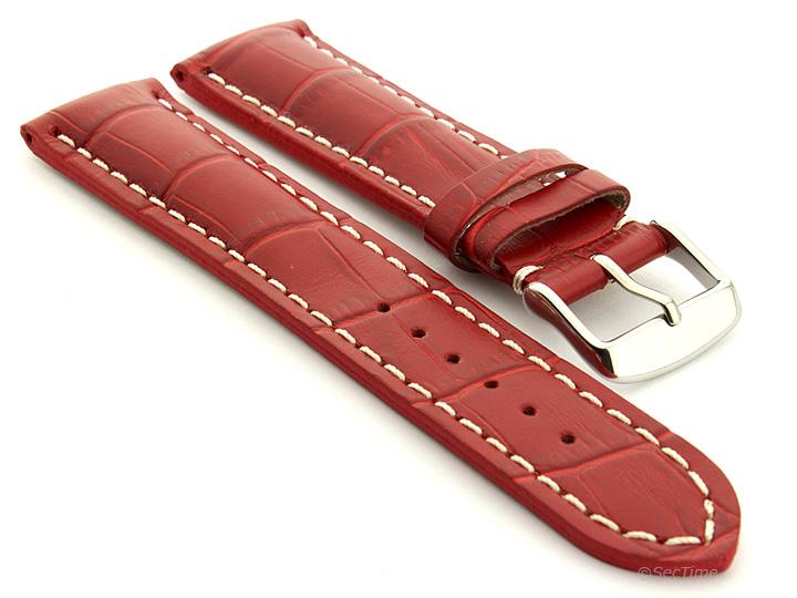 Leather Watch Strap VIP Alligator Grain Red 01