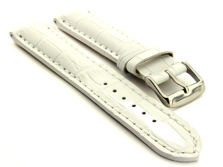 Leather Watch Strap VIP Alligator Grain White 01