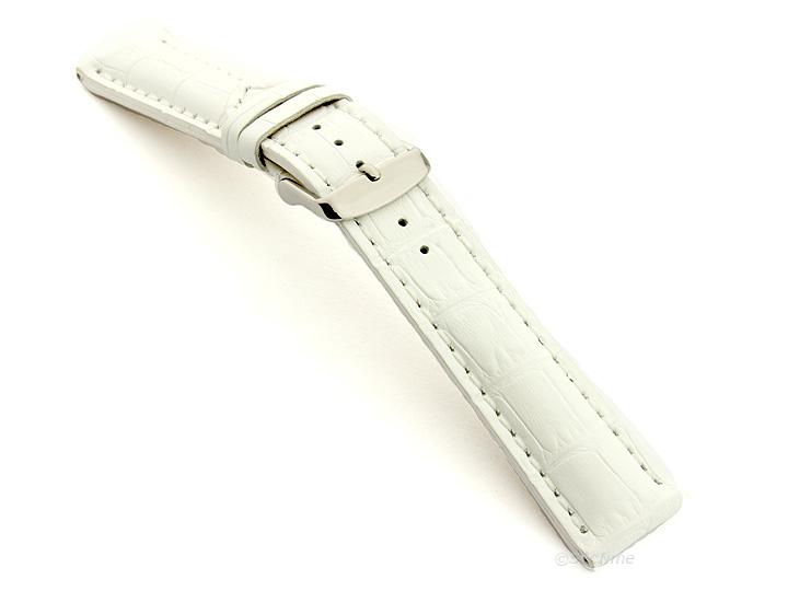Leather Watch Strap VIP Alligator Grain White 02