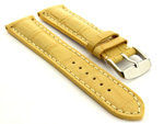 Leather Watch Strap VIP - Alligator Grain Yellow 22mm