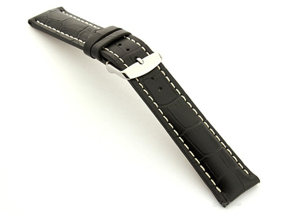 Leather Watch Strap VIP - Alligator Grain Black 22mm