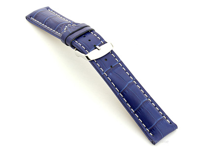 Leather Watch Strap VIP - Alligator Grain Blue 24mm