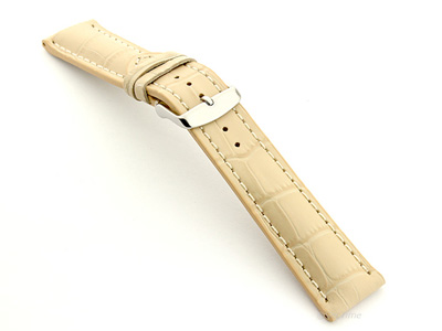 Leather Watch Strap VIP - Alligator Grain Cream 24mm