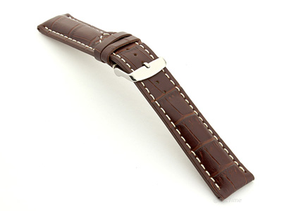 Leather Watch Strap VIP - Alligator Grain Dark Brown 22mm