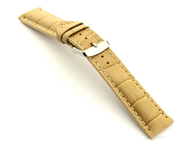 Leather Watch Strap VIP - Alligator Grain Dark Cream 24mm