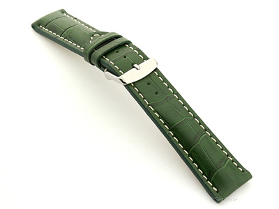 Leather Watch Strap VIP - Alligator Grain Green 24mm