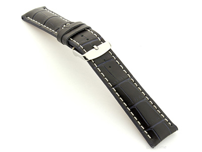 Leather Watch Strap VIP - Alligator Grain Night Blue 24mm