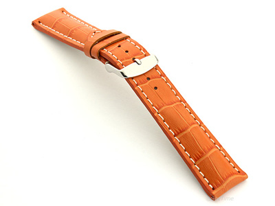Leather Watch Strap VIP - Alligator Grain Orange 24mm