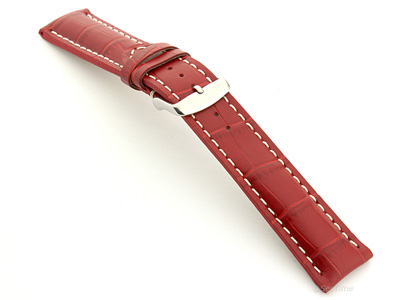 Leather Watch Strap VIP - Alligator Grain Red 24mm