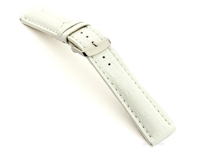 Leather Watch Strap VIP - Alligator Grain White 22mm