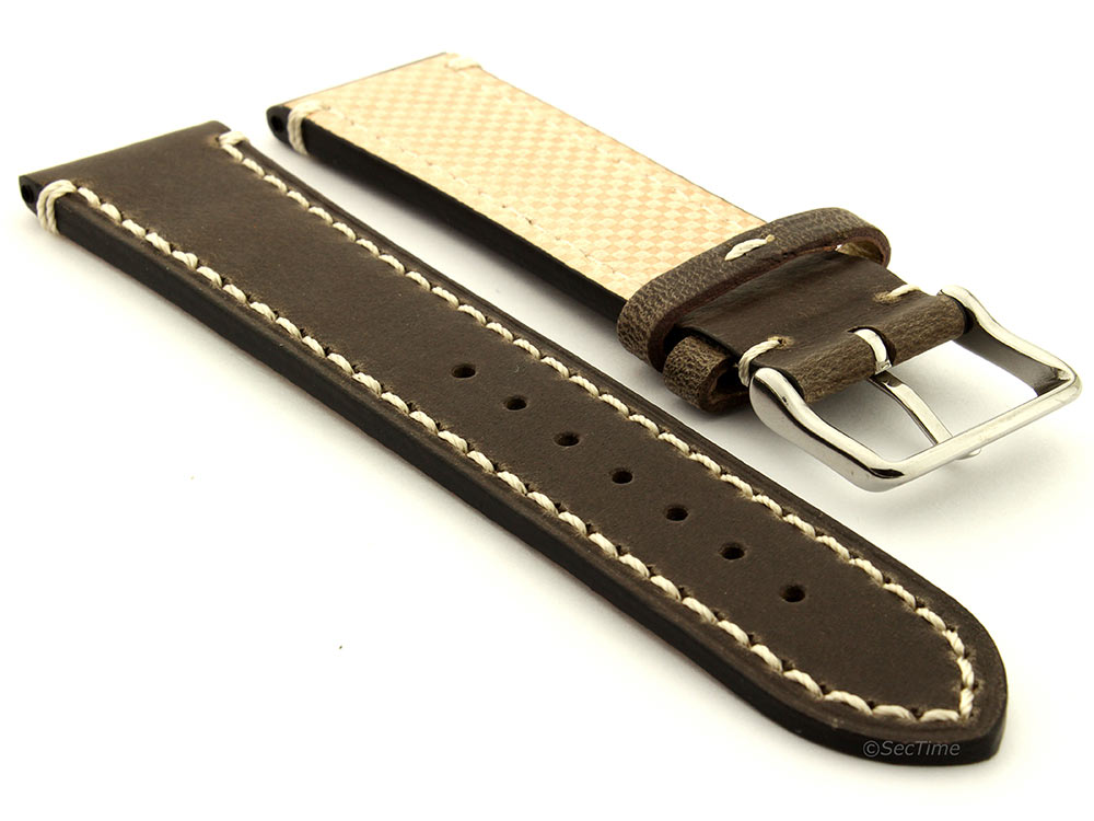 Genuine Leather Watch Strap Band Vito Dark Brown 02