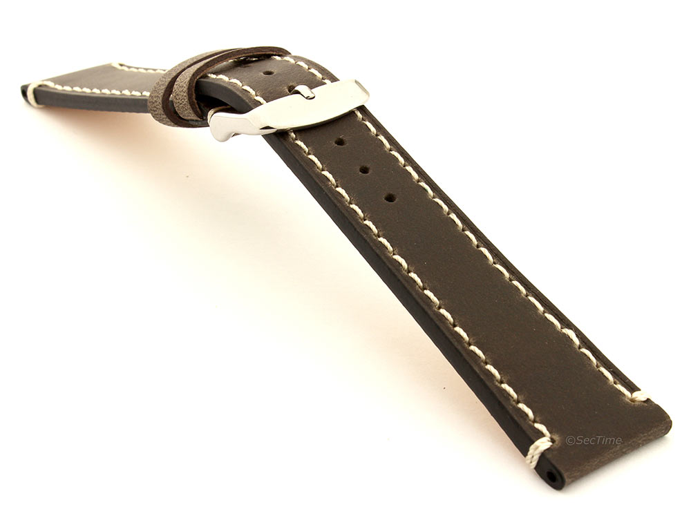 Genuine Leather Watch Strap Band Vito Dark Brown 03