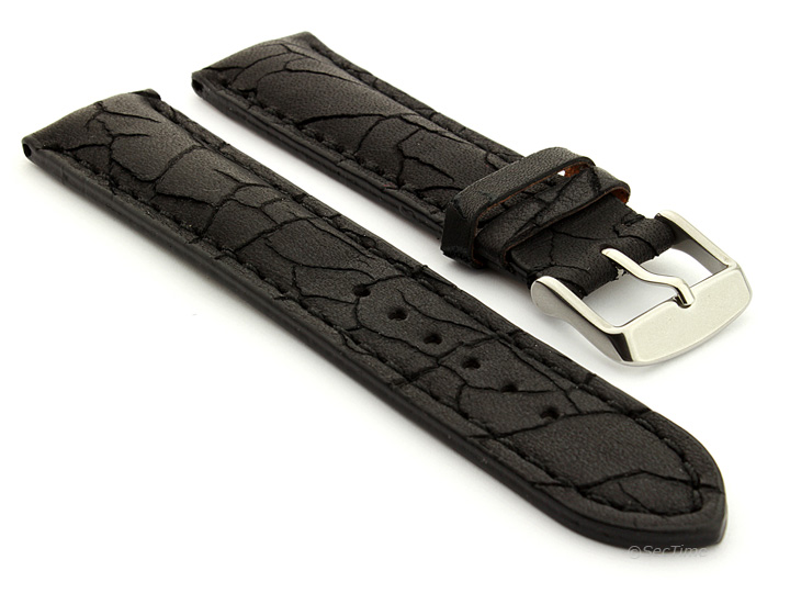 Cracked Leather Watch Strap Black with Black Stitching Waterfall 01