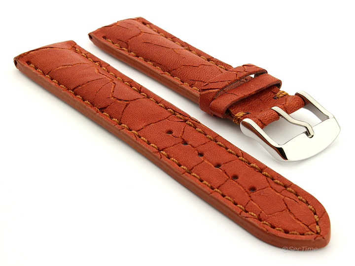 Cracked Leather Watch Strap Brown with Brown Stitching Waterfall 01