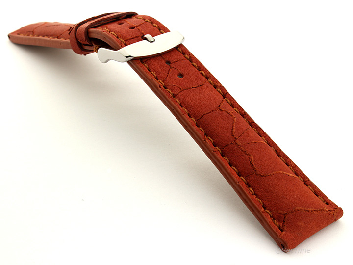 Cracked Leather Watch Strap Brown with Brown Stitching Waterfall 02