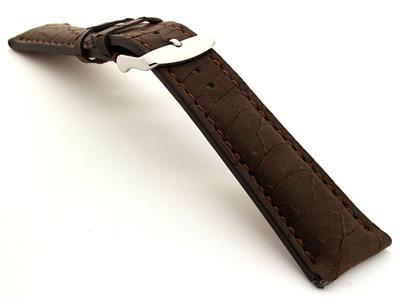 Cracked Leather Watch Strap Waterfall Dark Brown 24mm
