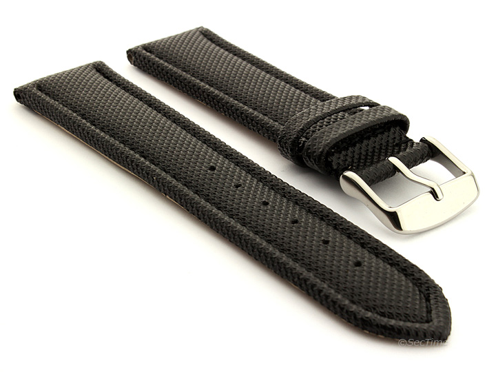 Polyurethane Waterproof Kevlar Style Watch Strap Black 01