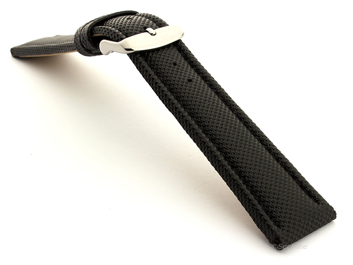 Polyurethane Waterproof Kevlar Style Watch Strap Black 02