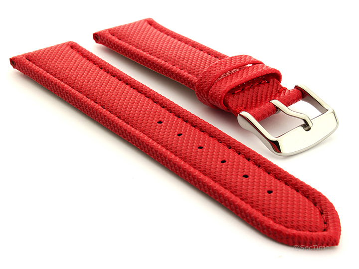 Polyurethane Waterproof Kevlar Style Watch Strap Red 01