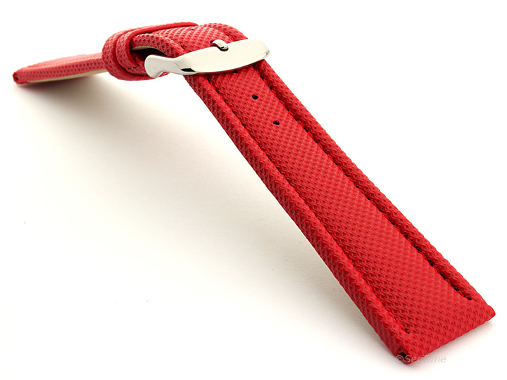 Polyurethane Waterproof Kevlar Style Watch Strap Red 02