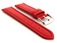 Polyurethane Waterproof Kevlar Style Watch Strap Red 01