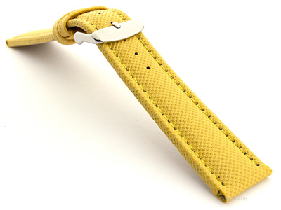 Polyurethane Waterproof Kevlar Style Watch Strap Yellow 02