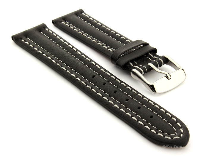 Leather Watch Strap Double Stitched Black with White Stitching Zurich 01 01