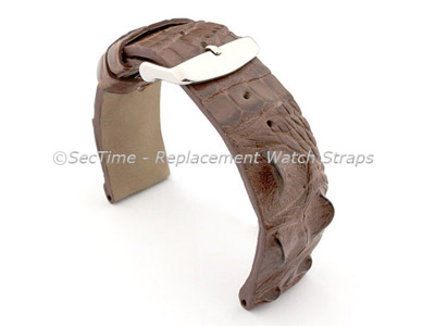 Genuine Alligator Leather Watch Strap FLORIDA Dark Brown 22mm