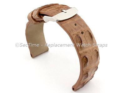 Genuine Alligator Leather Watch Strap FLORIDA Brown 20mm