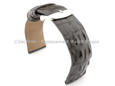 Genuine Alligator Leather Watch Strap FLORIDA Black 20mm