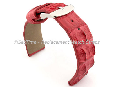 Genuine Alligator Leather Watch Strap FLORIDA Red 22mm