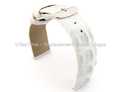 Genuine Alligator Leather Watch Strap FLORIDA White 22mm