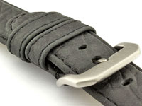 Genuine Buffalo Leather WATCH STRAP Bizon Black/Black 24mm