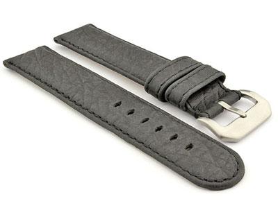 Genuine Buffalo Leather WATCH STRAP Bizon Black/Black 20mm