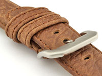 Genuine Buffalo Leather WATCH STRAP Bizon Dark Brown/Brown 18mm