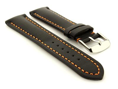 Padded Watch Strap Band CANYON Genuine Leather Black/Orange 22mm