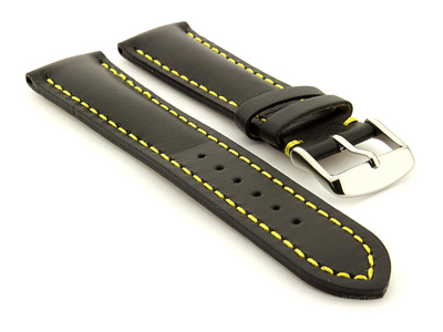 Padded Watch Strap Band CANYON Genuine Leather Black/Yellow 20mm