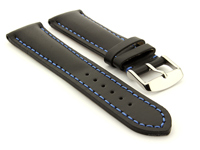 Padded Watch Strap Band CANYON Genuine Leather Black/Blue 24mm