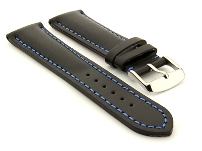 Padded Watch Strap Band CANYON Genuine Leather Black/Blue 20mm