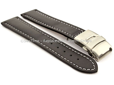 Genuine Leather Watch Strap Band Canyon Deployment Clasp Black/White 20mm