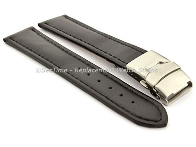 Genuine Leather Watch Strap Band Canyon Deployment Clasp Black/Black 20mm