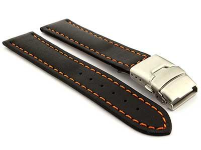 Genuine Leather Watch Strap Band Canyon Deployment Clasp Black/Orange 22mm