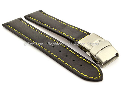 Genuine Leather Watch Strap Band Canyon Deployment Clasp Black/Yellow 22mm