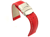 Genuine Leather Watch Strap Band Canyon Deployment Clasp Red/White 24mm