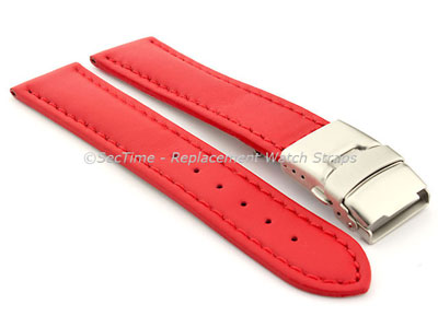Genuine Leather Watch Strap Band Canyon Deployment Clasp Red/Red 20mm