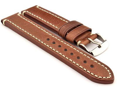 Genuine Leather WATCH STRAP Catalonia WAXED LINING Dark Brown/White 22mm