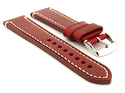 Genuine Leather WATCH STRAP Catalonia WAXED LINING Red/White 22mm